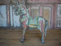 Teak Carved Horse with faded paint tones, Gujarat <b>SOLD<b>